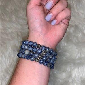 Ocean Blue 4 Strand Bead Bracelet Set 🌊